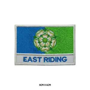 EAST-RIDING-County-Flag-With-Name-Embroidered-Patch-Iron-on-Sew-On-Badge