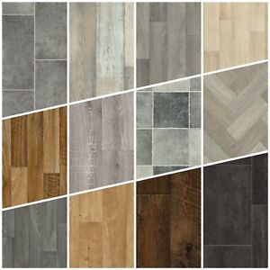 Tile Wood Effect Vinyl Flooring Grey Oak Bathroom Kitchen ...