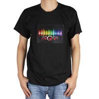 Sound-activated LED T-shirt  Music Party Dance DJ Detachable EL Panel T-Shirt