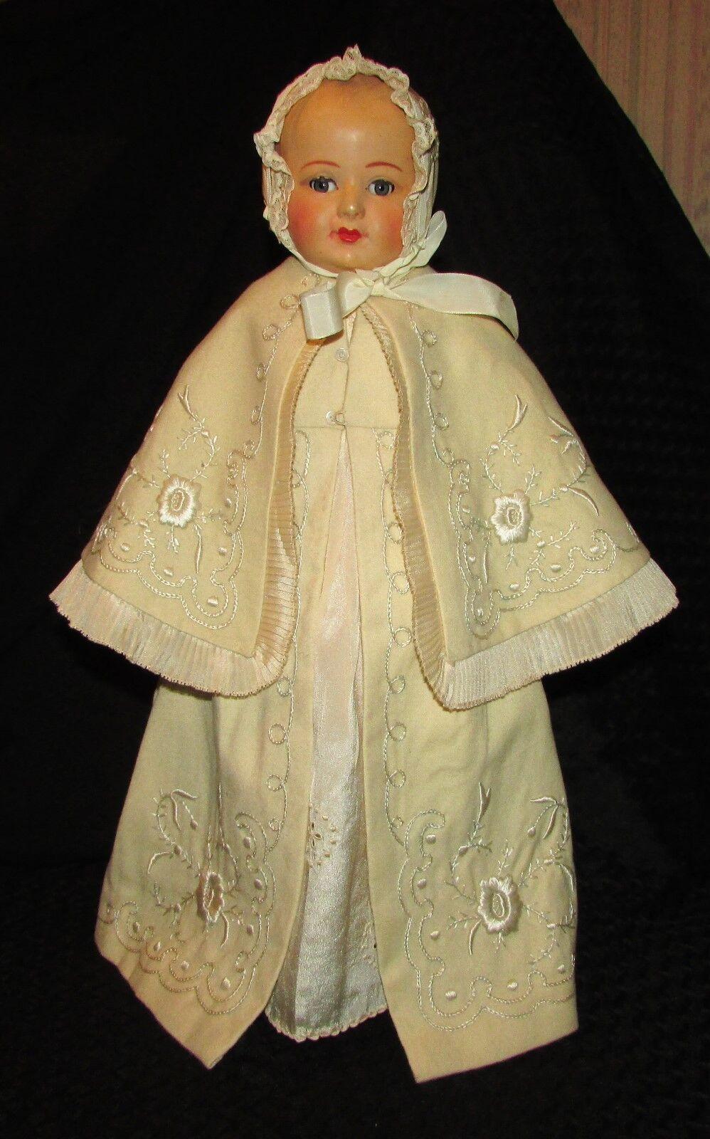 Bañista Antiguo Petitcollin de Vestido de Bautizo Abrigo Bordado Manual