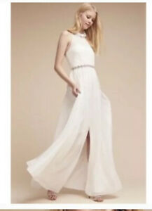 Bhldn White Silk Wedding Gown Dress Size 6 Hitherto Camila Ruffled Neck Ebay