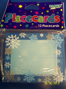 Snowflakes-Blue-White-Winter-Christmas-Holiday-Party-Decoration-Tent-Place-Cards