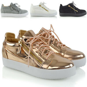 Womens-Casual-Sneakers-Flat-Lace-Up-Zip-Pumps-Ladies-Comfy-Trainers-Shoes-Size