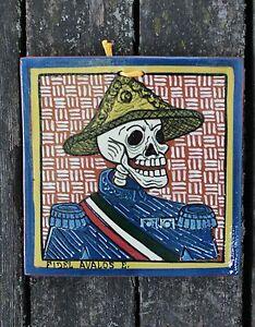 Dias-de-Los-Muertos-Skeleton-El-Mero-Mero-Tile-Michoacan-Mexican-Folk-Art