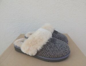 6a4a296b212 Details about UGG CHARCOAL GREY COZY KNIT SHEEPSKIN SLIPPERS, WOMEN US 9/  EUR 40 ~ NEW
