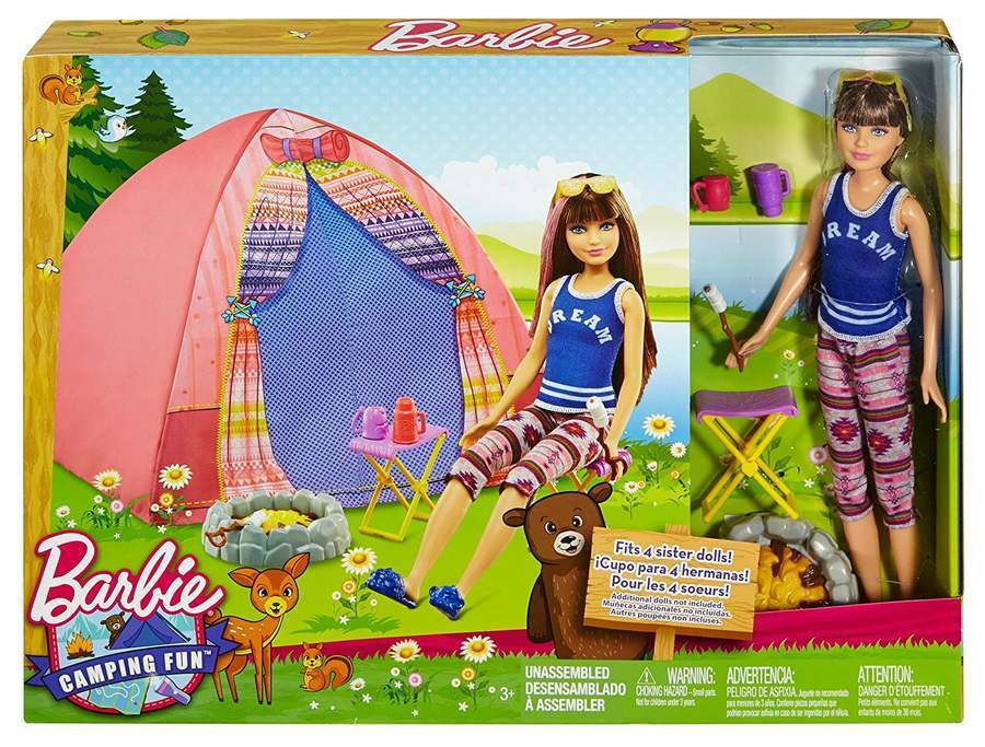 Barbie Camping Camping Camping Fun Tent, Skipper Doll and Accessories Folding Chairs BRAND NEW bf7cd3