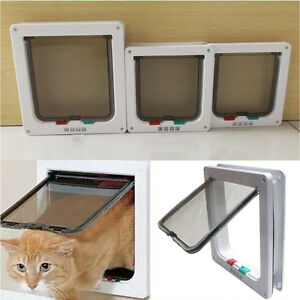 4-Way-Large-Medium-Small-Pet-Cat-Puppy-Dog-Door-Flap-Locking-Lockable-Safe-Gate