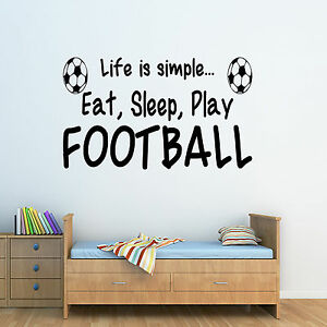 Football Life Style-eat, Sleep & Play-wall Art Sticker Chambre Décalcomanie Citation-afficher Le Titre D'origine Bien Vendre Partout Dans Le Monde
