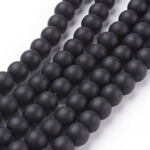 Strand 48 8mm Dark Grey Black Stone Matte Plain Round Beads UK