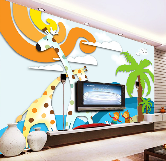 3D Giraffe 467 Wallpaper Murals Wall Print Wallpaper Mural AJ WALL UK Summer
