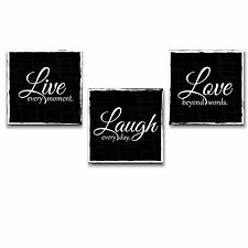 Live Laugh Love - Wall Art Decor - Beautiful Quote- Wall26 - Black and White
