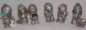 VINTAGE-PRECIOUS-MOMENTS-MINI-1-2-034-TALL-FIGURES-PEWTER-SILVER-TONE-LOT-OF-6