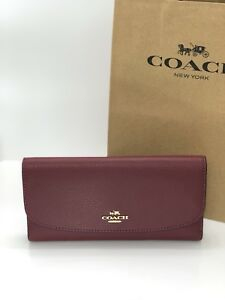 c5fb52a92031 Image is loading NWT-Coach-F16613-Pebble-Leather-Checkbook-Wallet-Tri-