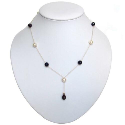 """Black /& White Pearl 14K Yellow Gold Tin Cup Dangle Necklace 16.5/"""" or 18.5/"""""""