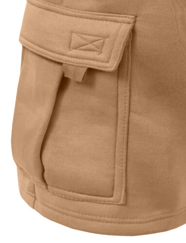 NEMP07 NE PEOPLE Mens Comfy Baggy Fleece Cargo Sweat Shorts with Drawstring