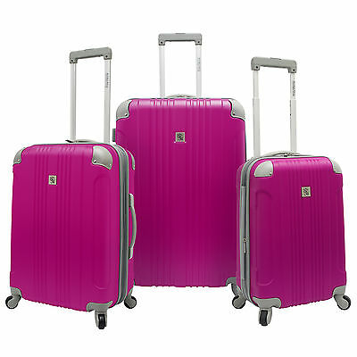 Beverly Hills Country Club 3pc Malibu Newport Pink Spinner Suitcase Luggage Set