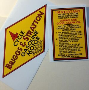 Briggs-amp-Stratton-early-engine-decals-Y-amp-Z-Yellow-diamond-shape-set-of-2