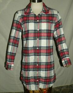 Womens-VINEYARD-VINES-Red-Green-Jolly-Plaid-Flannel-Lounge-Sleep-Dress-Whale-XXS