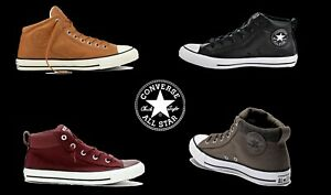 5cc23f8aedd8 UNISEX CONVERSE CANVAS LEATHER MID CHUCK TAYLOR ALL STAR HI STREET ...