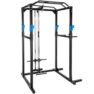 Kraftstation-Fitnessstation-Power-Rack-Power-Cage-Klimm-Latzug-Dip-blau-schwarz