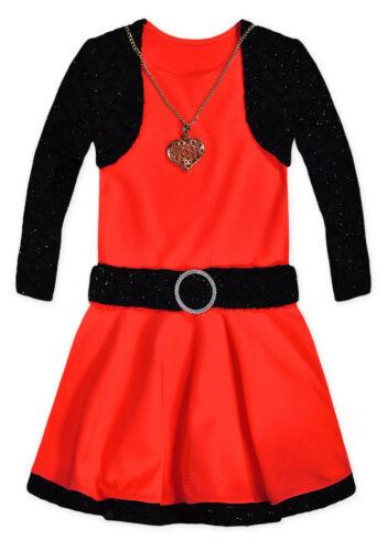 Girls Long Sleeved Party Dress New Kids Sparkle Bolero Waffle Dresses 2-10 Years
