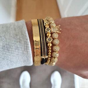Luxury-Anil-Arjandas-CZ-Crown-Charm-Bracelets-Men-Gold-Roman-Numeral-Cuff-Bangle