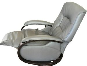 Himolla-Mosel-German-Zero-Stress-Gray-Leather-amp-Wood-Integrated-Recliner-Chair