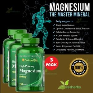 High Potency MAGNESIUM 500MG Bone Nerve Muscle Anxiety