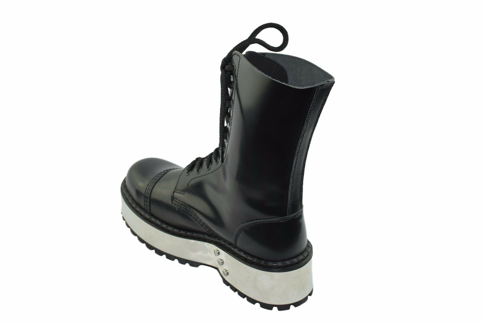 Steel Ground Metal Combat Boots Black Leather 10 Eyelets Triple Metal Ground Sole Safety Cap e2804e