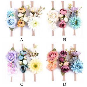 3Pcs Newborn Kids Girls Toddler Flower Headband Baby Headwear Hair Accessories
