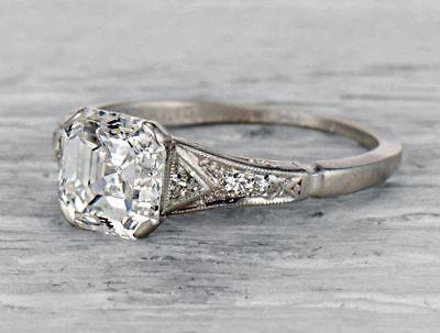 2 05ct Asscher Cut Diamond Art Deco Antique Engagement Wedding Ring 925 Silver Ebay