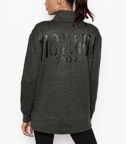 Victoria/'s Secret Sport 1//2 Zip Essential Sweatshirt Black// Gray XL