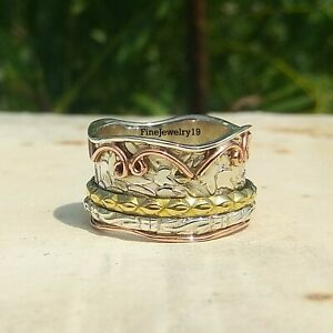 925-Sterling-Silver-Spinner-Ring-Wide-Band-Meditation-Statement-Jewelry-A117