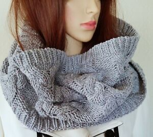 New Talbots Gray Knitted Sweater Scarf Wrap