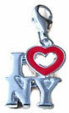 """LOVELY """"I LOVE NEW YORK"""" WITH A RED OPEN HEART CLIP ON CHARM - 3D - 925 S/PLATE"""