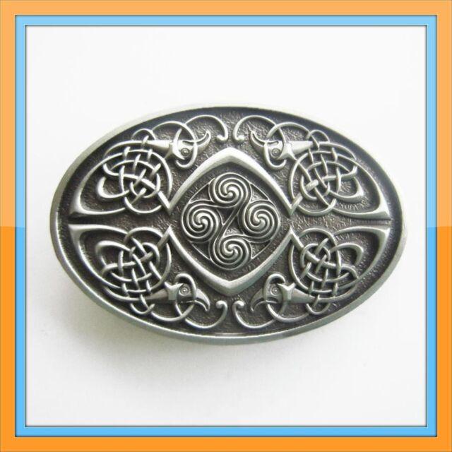 Cross Celtic Knot Oval Southwest Bronze Western Belt Buckle