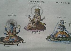 1797 GEORGIAN PRINT ~ INDIAN GODS VISHNU BRAHMA & ISWARA ~ HAND COLOURED