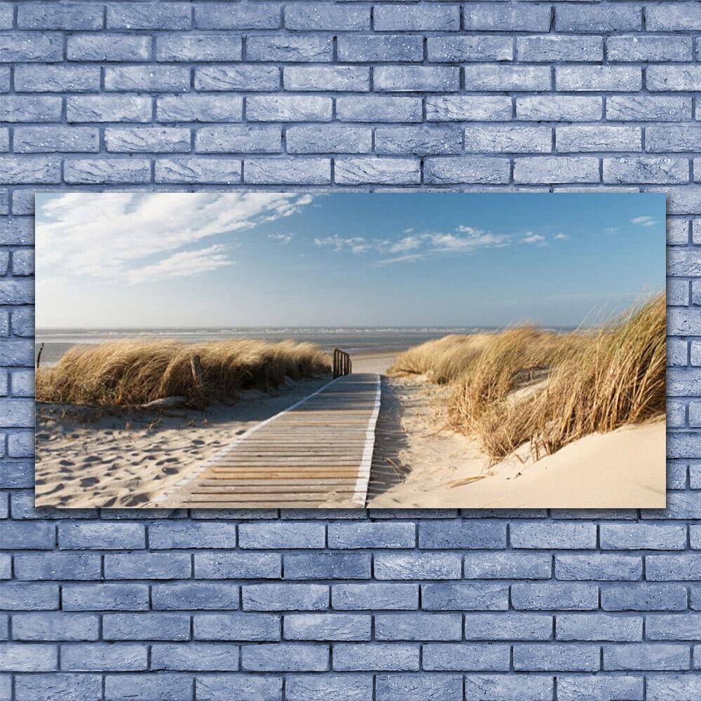 Leinwand-Bilder Wandbild Leinwandbild 140x70 Strand Weg Landschaft