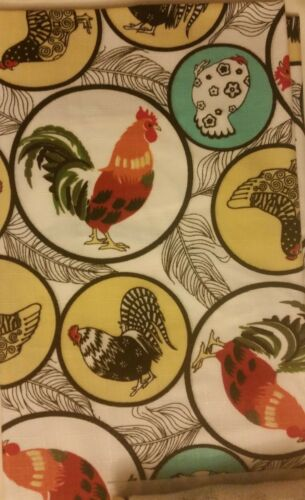 """ROOSTERS IN CIRCLES by CV w//pocket /& detachable towel Kitchen Apron,23/"""" x 36/"""""""