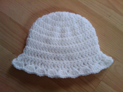 Handmade Hand Crocheted Baby Girl Mop Hat with shell edge Acrylic various cols.