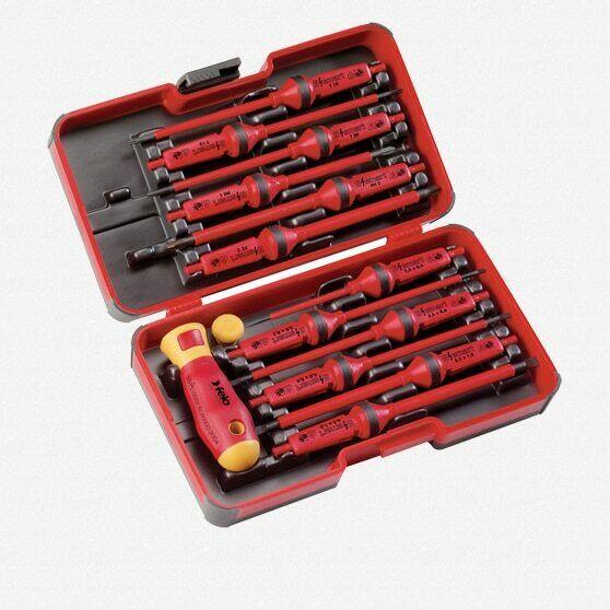 Felo 51719 E-Smart 14 Piece Set - Slotted, Phillips, Pozidriv, Torx Tip Insulate