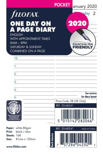 Pocket Week On One Page English 2019 Diary Refills Filofax