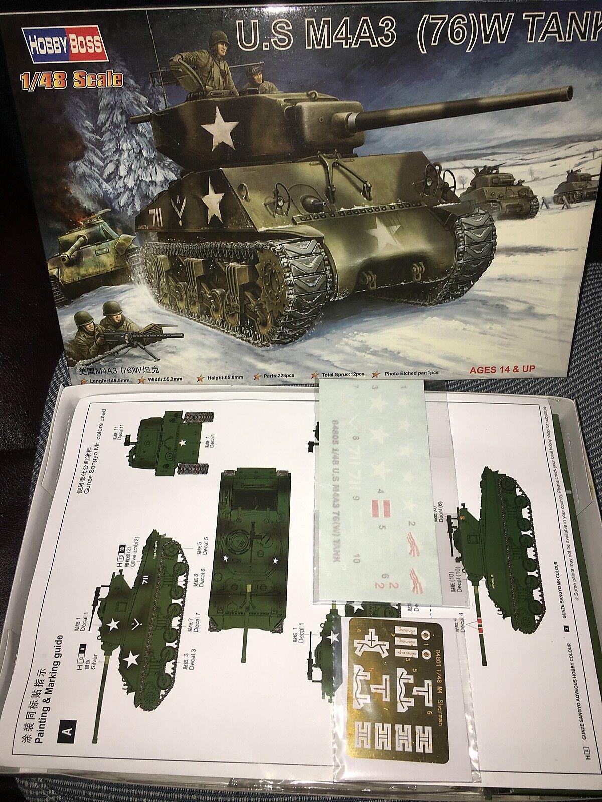 Trumpeter 84805 American M4A1 (76)W Medium Tank Plastic Car 1 48 Model Vehicle