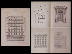 Copieux Paris, 17 Rue Lagrange - Gravures Architecture 1895 - Rich