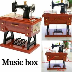 Vintage Sewing Machine Style Music Box Mechanical Table Decor Birthday w// Drawer
