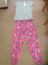MARKS AND SPENCER LADIES PINK BUTTERFLY PYJAMA SET SIZE 6 BNWT