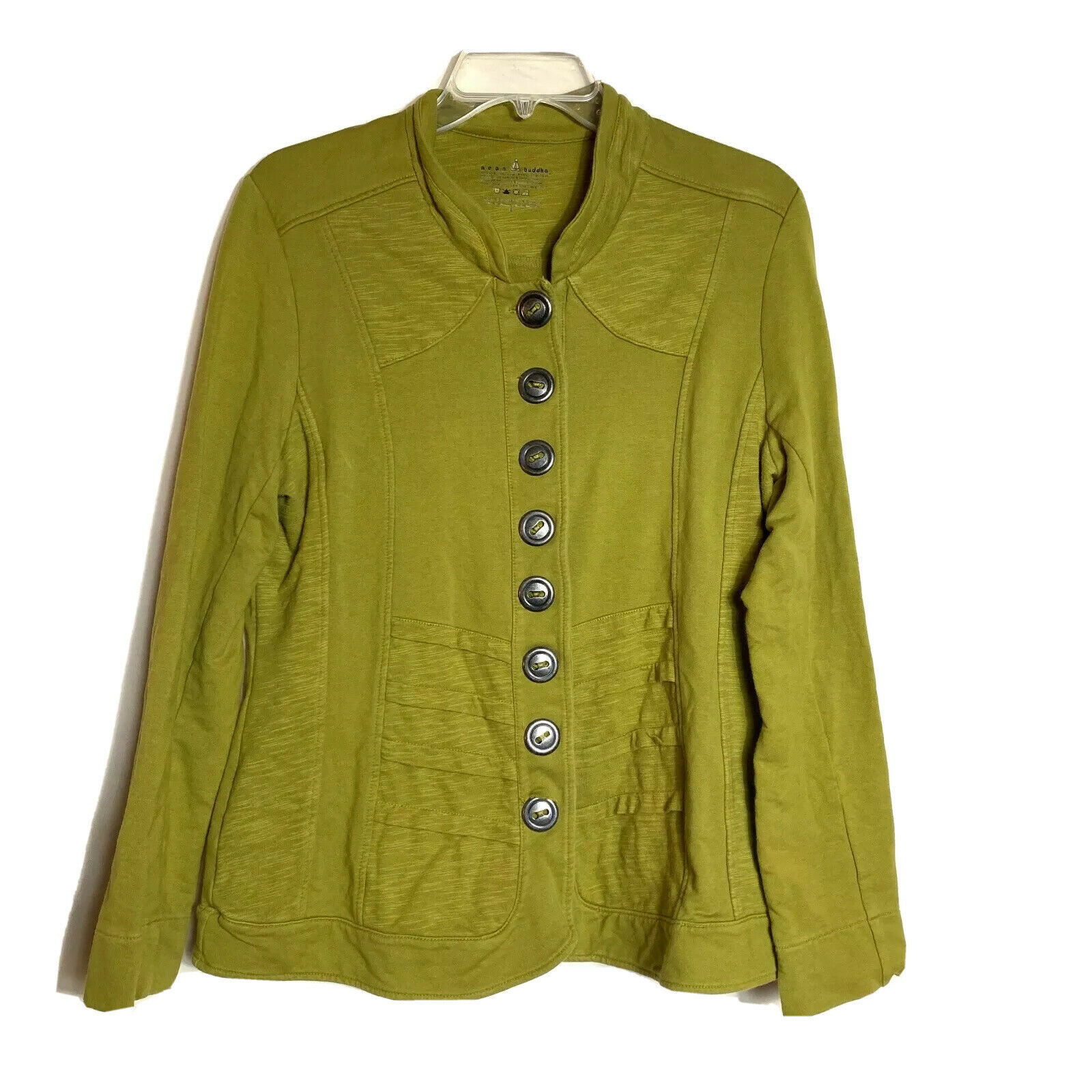 Neon Buddha Large Green Button Lagenlook Full But… - image 1