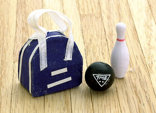 Dollhouse Miniature 1 12 Scale Accessory Bowling Bag Ball /& Skittle Set for sale online