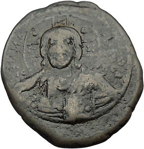 JESUS-CHRIST-Class-B-Anonymous-Ancient-1028AD-Byzantine-Follis-Coin-CROSS-i46457