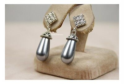 Celebrity Elegant Women Faux Diamond Tahiti Royal Pearl Teardrop Earring Imitat